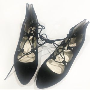 A.N.A Black Flats tie up size 6.5